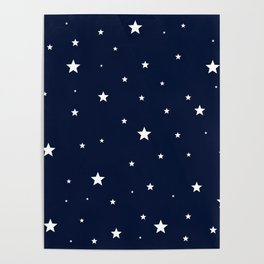 Scattered Stars White on Midnight Blue Poster