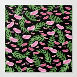 flying leaves in pink Canvas Print