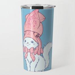 White Cat Wears Squid Hat Travel Mug