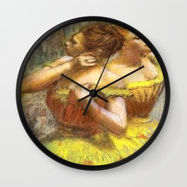 Two Dancers in Yellow by Edgar Degas Wall Clock