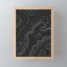Black & White Topography map Framed Mini Art Print