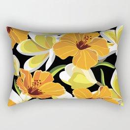 Beautiful pattern with tropical flowers, hibiscus and frangipani. Rectangular Pillow