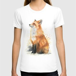 Fox Watercolor Red Fox Painting T-shirt