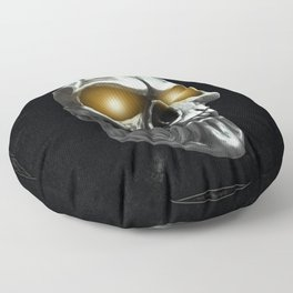Skull with glowing yellow eyes Floor Pillow