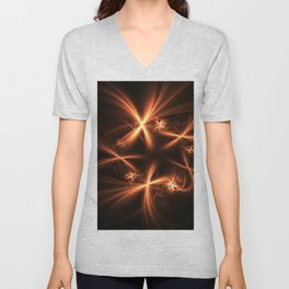 Orange abstract fractal as firework. Holiday theme. Unisex V-Neck