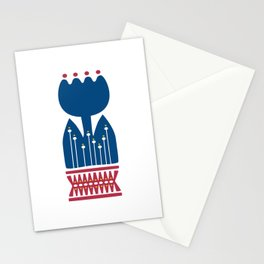 Nordic Blue Flower Stationery Cards