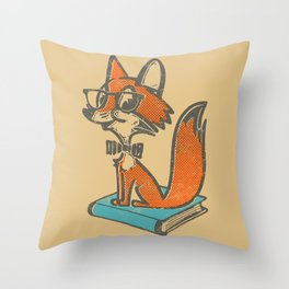 Fox Librarian - A Well Read Fox Throw Pillow