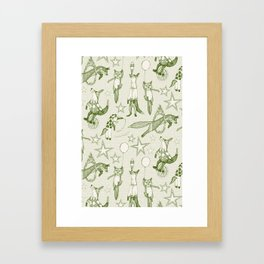 foxy circus green ivory Framed Art Print