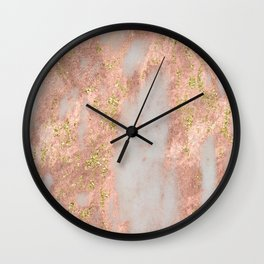 Rose Gold Marble with Yellow Gold Glitter Wall Clock