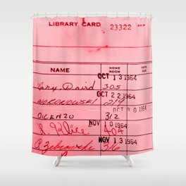Library Card 23322 Pink Shower Curtain