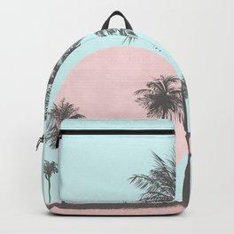 Beachfront palm tree soft pastel sunset graphic Backpack