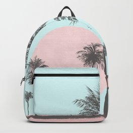 Beachfront palm tree soft pastel sunset graphic Backpack
