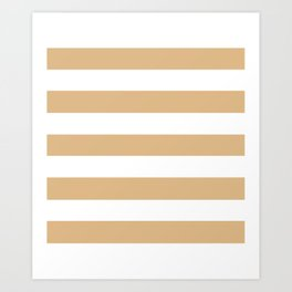 Burlywood - solid color - white stripes pattern Art Print
