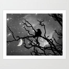 Black Bird Silhouette on Starry Night A492BW Art Print