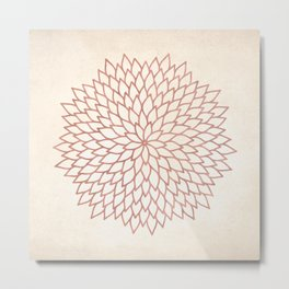 Mandala Flower Rose Gold on Cream Metal Print