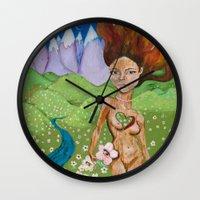 kiki Wall Clocks featuring Kiki Heart by Cody Huff