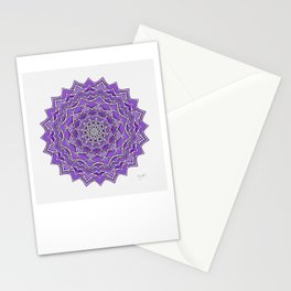 12-Fold Mandala Flower in Purple Stationery Cards