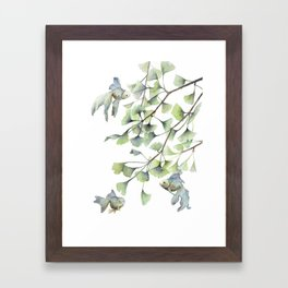 Mint Green Ginkgo Leaves and Green Goldfish Watercolor Design Framed Art Print