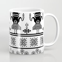 folk embroidery, black on white background. Collection of flowers, birds, peacocks, horse Coffee Mug