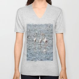 A Flamboyant Pat Of Flamingos Unisex V-Neck