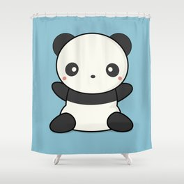 Kawai Cute Hugging Panda Shower Curtain