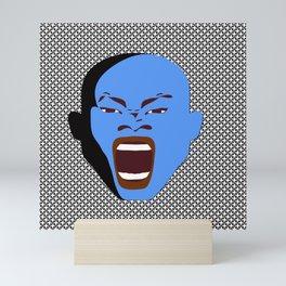 blue man head design digital art male face shouts zollione store art Mini Art Print