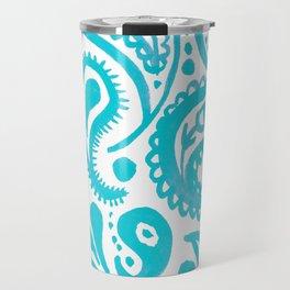 Handpainted Paisley Pattern Aqua Color Travel Mug
