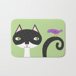 Tuxedo Cat and Purple Bird Bath Mat