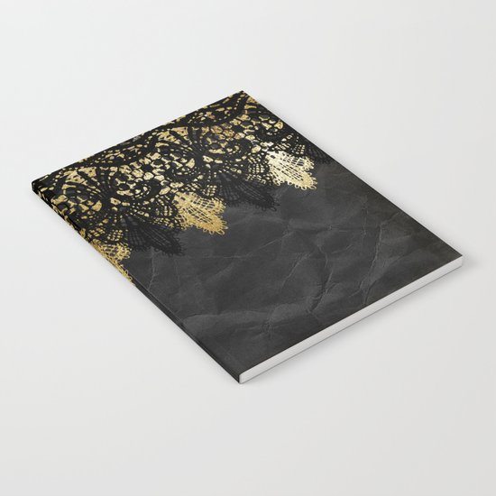 Simply elegance - Gold and black ornamental lace on black paper Notebook
