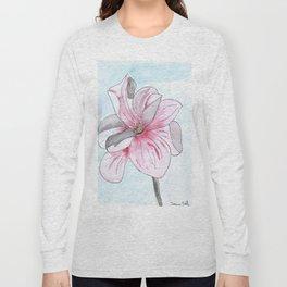 Magnolia Flower watercolor Long Sleeve T-shirt