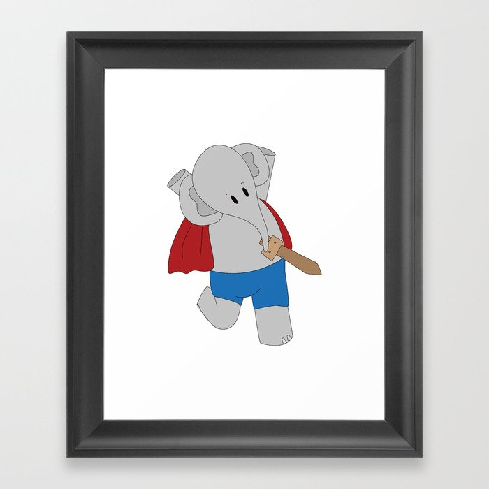 Elphie and dad on an epic adventure  Framed Art Print