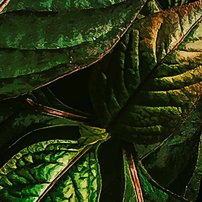 Golden Green Leaves Leggings
