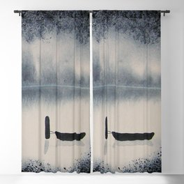 Boat on Ice 2 Watercolor Painting Blackout Curtain