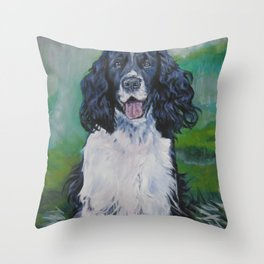 English Springer Spaniel dog art from an original painting by L.A.Shepard Throw Pillow