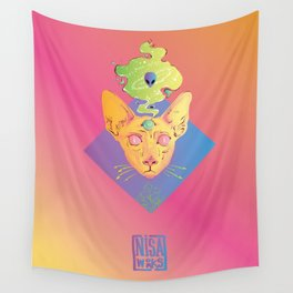 Psichedelic cat Wall Tapestry