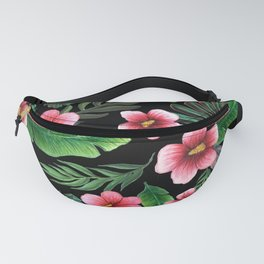 Palm and hibiscus Tropical Watercolor pattern Fanny Pack