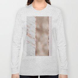 Rose metallic striping - marble and blush Long Sleeve T-shirt