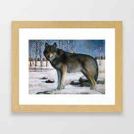 Grey Wolf in Winter, Oil Pastel Painting Framed Art Print