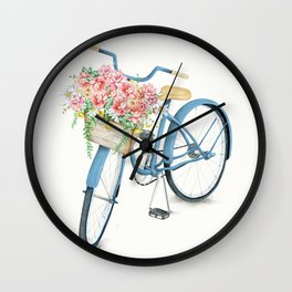 Blue Bicycle with Flowers in Basket Wall Clock
