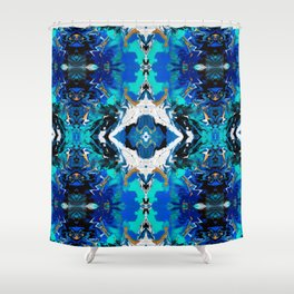 Ripples (Blue, White, Black & Gold Acrylic - Repeat Mirror Pattern 2) Shower Curtain