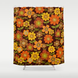 Far out flowers Brown Shower Curtain