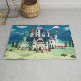 Colorful Princess Castle Rug