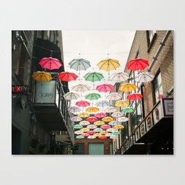 Ireland Dublin   Colorful street photography   Umbrella's Canvas Print