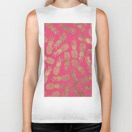 Tropical neon pink faux gold pineapple fruit pattern Biker Tank