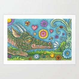 DRAGON'S SECRET GARDEN - Brack Fantasy Dragon Art Print