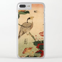 Hokusai,Hawfinch and mirabilis - manga, japan,hokusai,japanese,北斎,ミュージシャン Clear iPhone Case