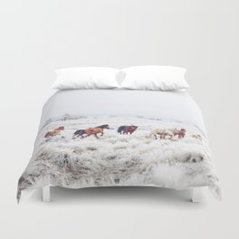 Winter Horses Duvet Cover