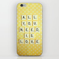 all you need is love iPhone & iPod Skins featuring All You Need is Love by happeemonkee