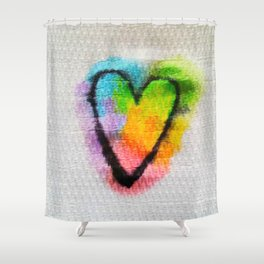 Heart on a Napkin Shower Curtain