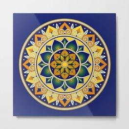Italian Tile Pattern – Peacock motifs majolica from Deruta Metal Print